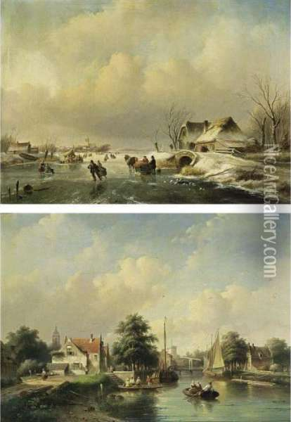 Skaters On The Ice Near A 'koek En Zopie'; Villagers In A Boat On A Summer Day (a Pair) Oil Painting - Jan Jacob Coenraad Spohler