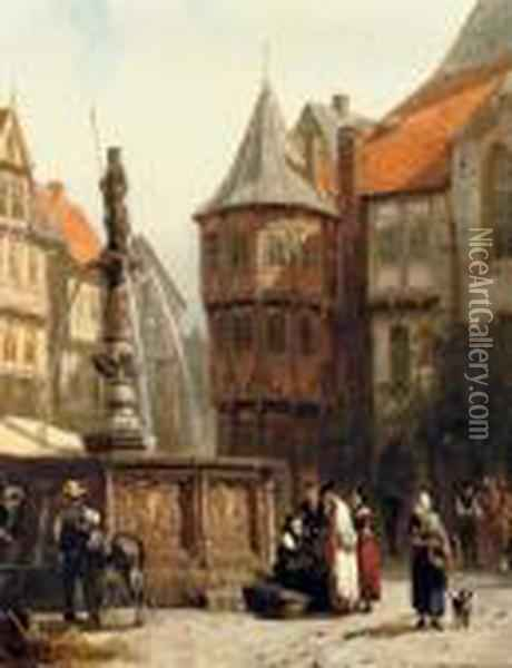 Marketday In Front Of The Town Hall Of Hildesheim Oil Painting - Cornelis Springer