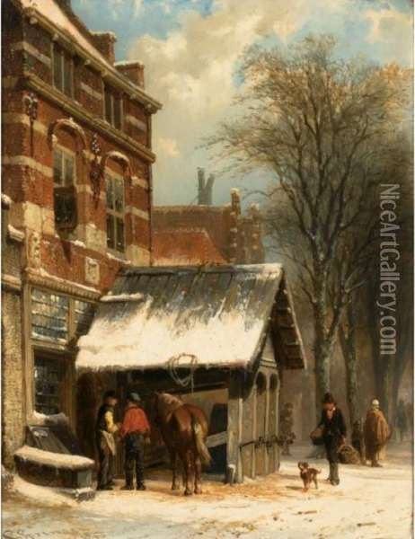 The Smithy Of Culemborg In Winter Time Oil Painting - Cornelis Springer