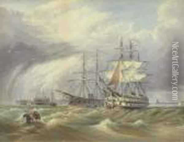 British Warships; And Warships At Anchor Oil Painting - William Clarkson Stanfield