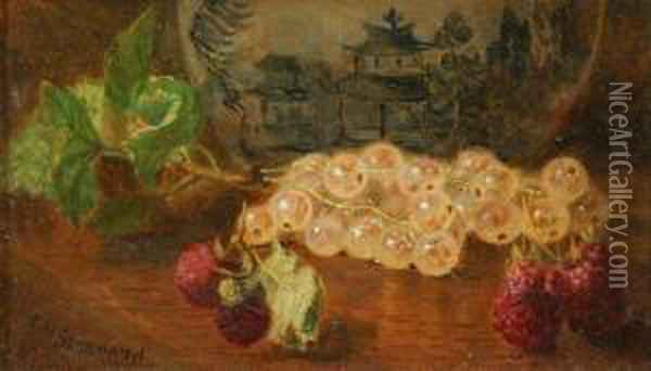 Raspberries And White Currants Oil Painting - Eloise Harriet Stannard