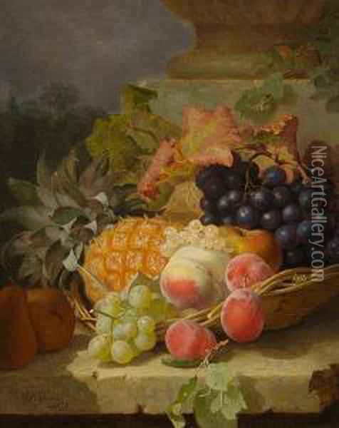 Still Life Of Fruit In A Basket On A Stone Ledge Oil Painting - Eloise Harriet Stannard