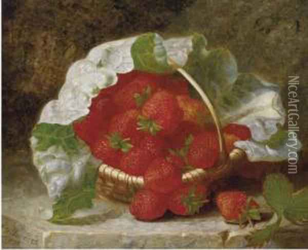 Strawberries And Cabbage Leaf In A Wicker Basket Oil Painting - Eloise Harriet Stannard
