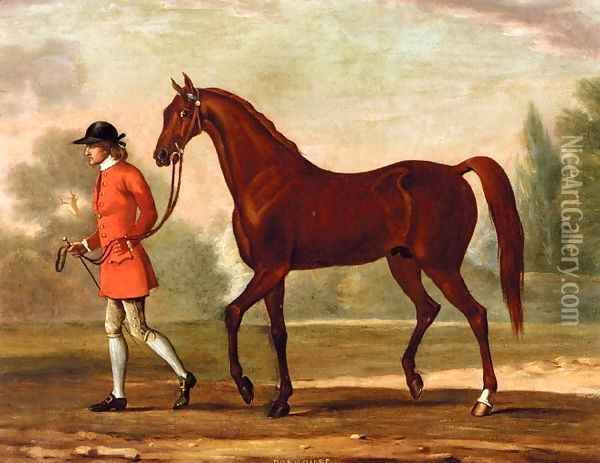 Portrait of 'Dormouse', a Bay Racehorse Led by a Jockey Oil Painting - Thomas Spencer