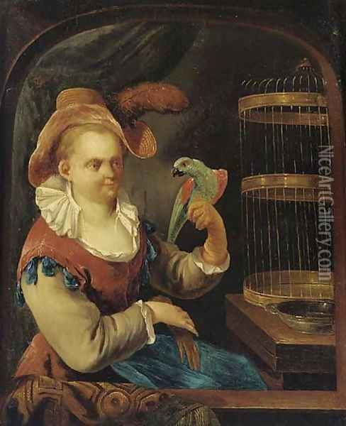A lady with a parrot at a casement Oil Painting - Joseph Conrad Seekatz