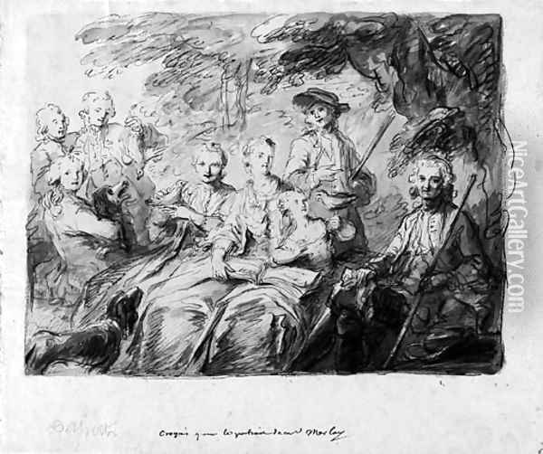 Study for a portrait of Monsieur Morlay and his family Oil Painting - French School