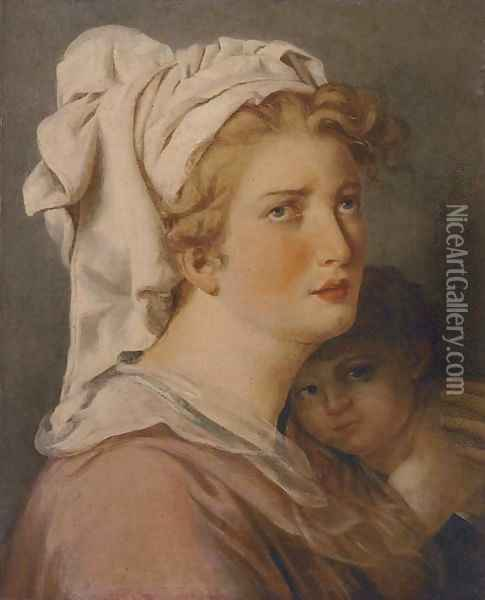 A mother and her child Oil Painting - French School
