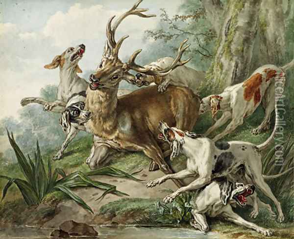 A stag attacked by hounds Oil Painting - French School
