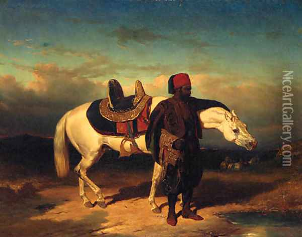 An Arab Horseman And His Steed Oil Painting - French School