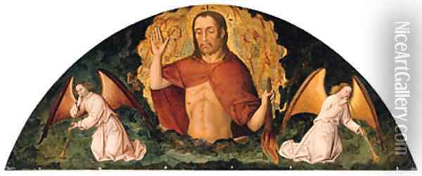 The Risen Christ with two Angels sounding the Last Trumpet Oil Painting - French School