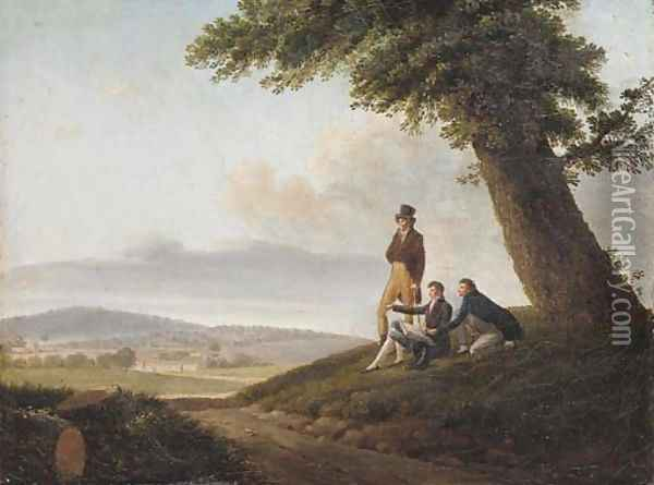Figures surveying an extensive landscape Oil Painting - French School