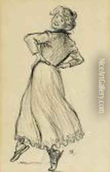 Woman Dancing Oil Painting - Theophile Alexandre Steinlen