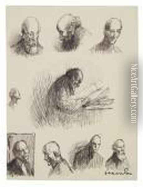 Studies Of A Figure Oil Painting - Theophile Alexandre Steinlen