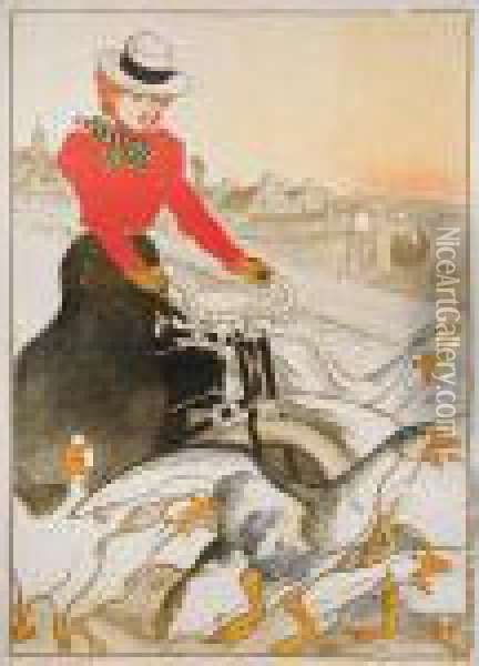 Motocycles Comiot Oil Painting - Theophile Alexandre Steinlen