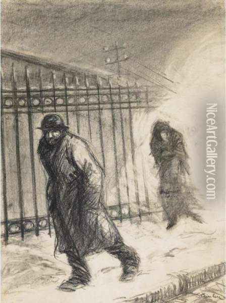 In The Suburbs Oil Painting - Theophile Alexandre Steinlen