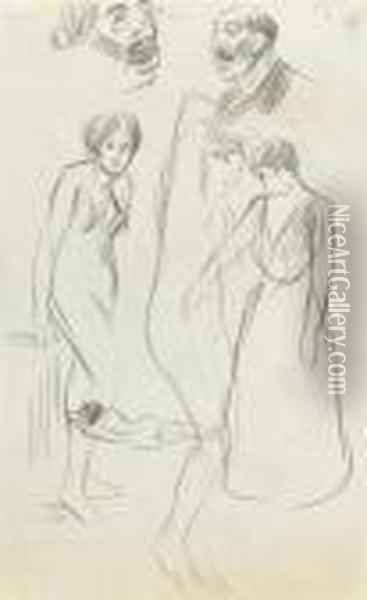 Male And Female Figure Studies Oil Painting - Theophile Alexandre Steinlen