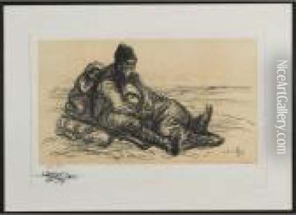 Old Man And Oil Painting - Theophile Alexandre Steinlen