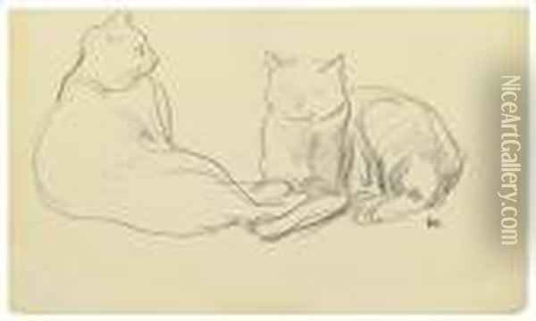 Deux Chats. Oil Painting - Theophile Alexandre Steinlen