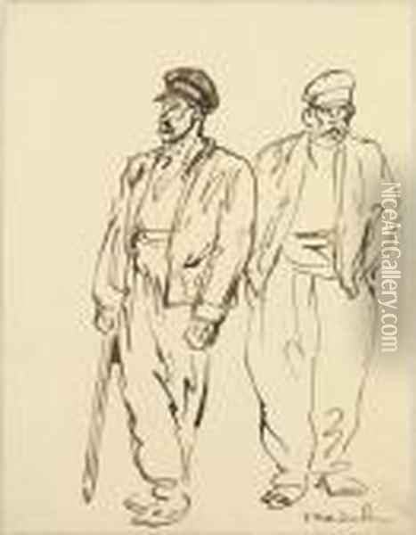 Study Of Two Men Oil Painting - Theophile Alexandre Steinlen