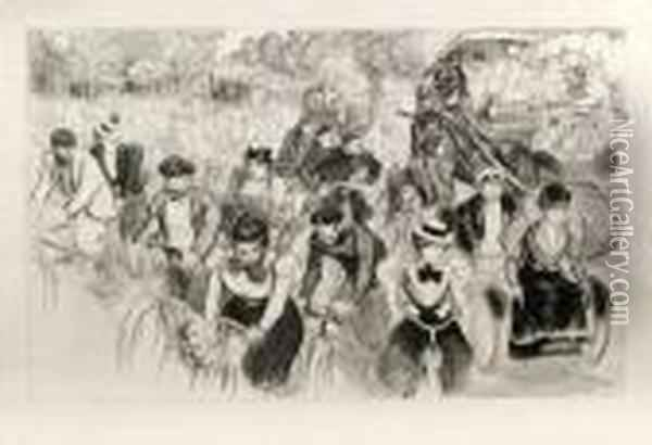 Les Cyclistes. Oil Painting - Theophile Alexandre Steinlen