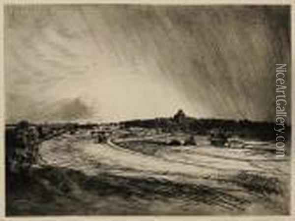 Landscape With Grain Stack Oil Painting - Theophile Alexandre Steinlen