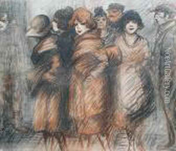 Prostitutes Oil Painting - Theophile Alexandre Steinlen