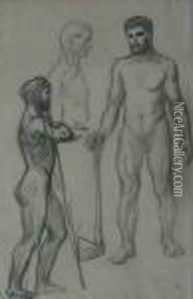 Figural Sketch: Male Nude Oil Painting - Theophile Alexandre Steinlen