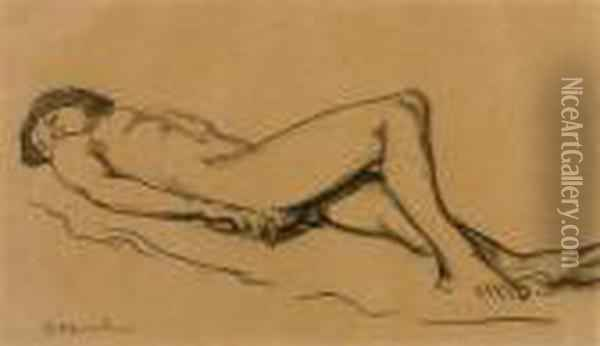 Reclining Female Nude. Oil Painting - Theophile Alexandre Steinlen