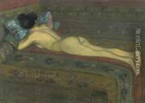 Reclining Figure. Oil Painting - Theophile Alexandre Steinlen