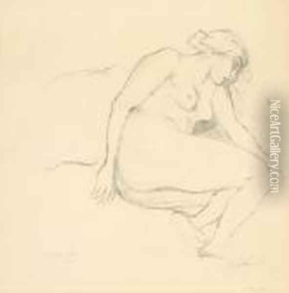 Female Nude Oil Painting - Theophile Alexandre Steinlen