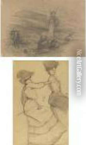 Deux Femmes Assises And Etudes De Guerre: A Double-sided Drawing Oil Painting - Theophile Alexandre Steinlen