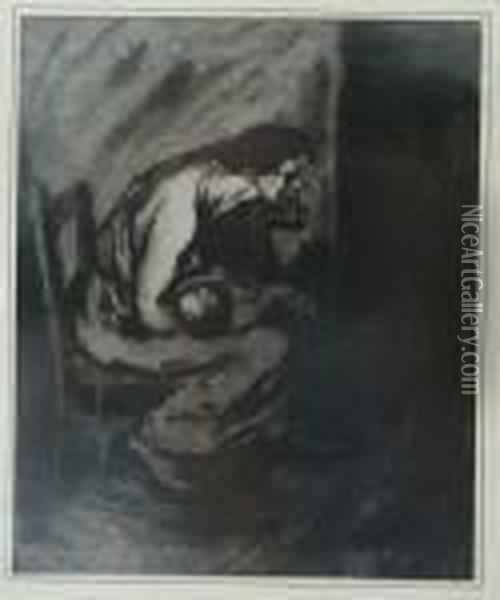 L'enfant Malade Oil Painting - Theophile Alexandre Steinlen