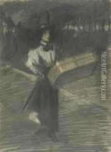 Girl With A Suitcase Oil Painting - Theophile Alexandre Steinlen