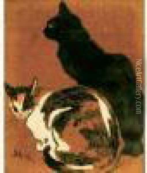 Chat Noir, Chat Roux Oil Painting - Theophile Alexandre Steinlen