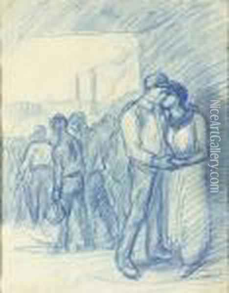 Embracing Couple Oil Painting - Theophile Alexandre Steinlen
