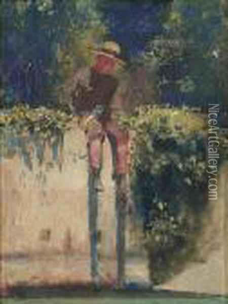 The Water-tank Boy Oil Painting - Arthur Ernest Streeton