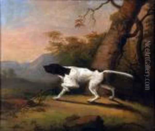 Pointer In A Landscape Oil Painting - George Stubbs