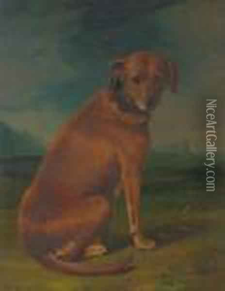 A Sporting Dog In A Landscape Oil Painting - George Stubbs