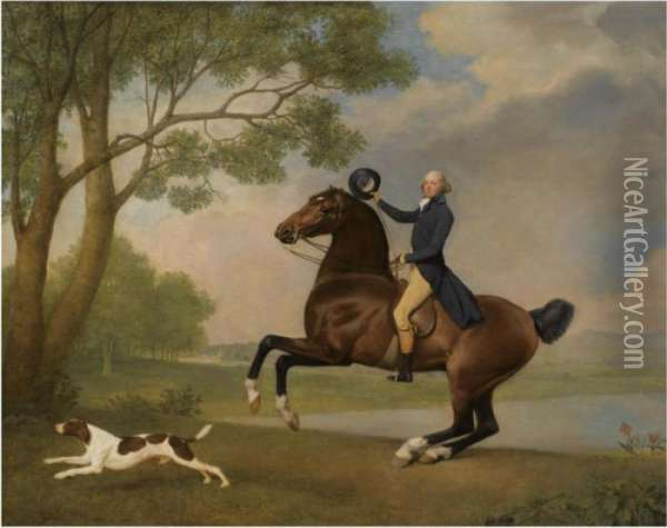 Portrait Of Baron De Robeck Riding A Bay Hunter Oil Painting - George Stubbs