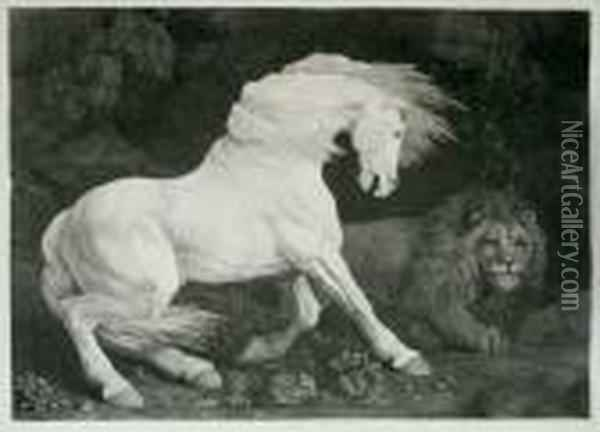 A Horse Affrighted At A Lion (lennox-boyd 70) Oil Painting - George Stubbs