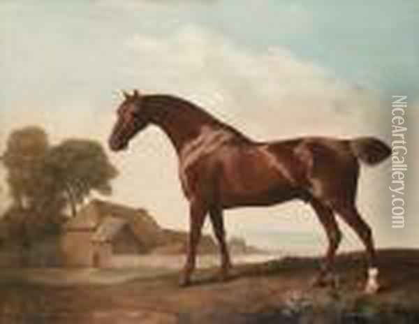 A Chestnut Thoroughbred Before A Barn In An Open Landscape Oil Painting - George Stubbs