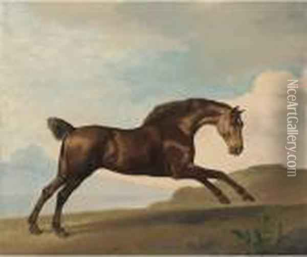 A Bay Hunter Galloping In A Mountainous Landscape Oil Painting - George Stubbs