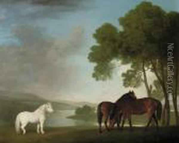 Two Bay Mares And A Grey Pony In A Landscape Oil Painting - George Stubbs
