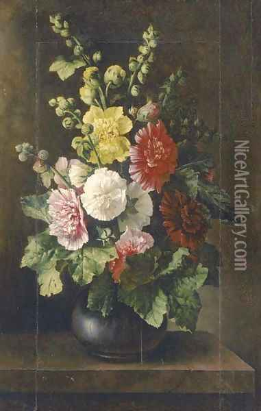 Mixed flowers in a vase on a plinth Oil Painting - Italian School