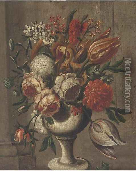 Roses, parrot tulips, chrysanthemums and other flowers in a vase on a ledge Oil Painting - Italian School