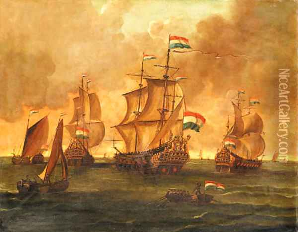 Dutch Men-of-War and other Ships in Calm Seas Oil Painting - Dutch School