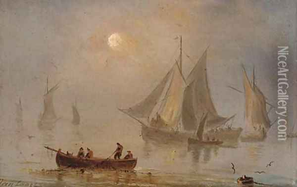Shipping in a calm, moonlight (illustrated); and Shipping in a swell by moonlight Oil Painting - Dutch School