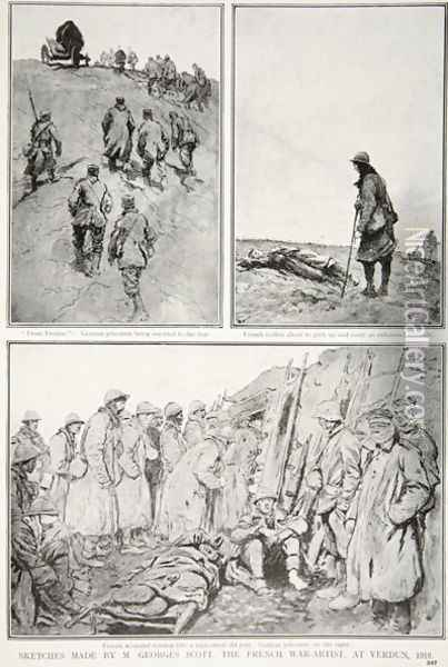Sketches made by a French War-Artist at Verdun, 1916 Oil Painting - Scott, M. Georges