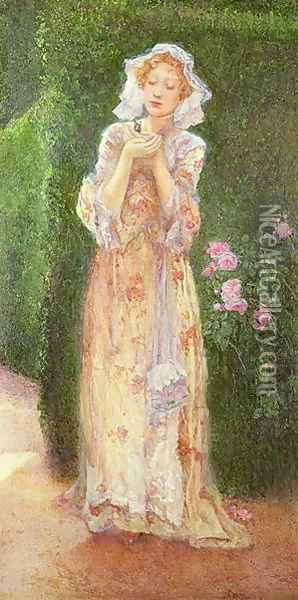 Lady with a Butterfly Oil Painting - Alice Macallan Swan