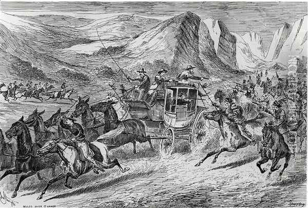 The Attack on the Deadwood Coach in Buffalo Bills Wild West, engraved by Joseph Swain 1820-1909 1887 Oil Painting - John Sturgess